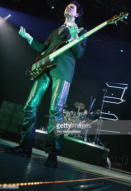 JohnTaylor and Roger Taylor of Duran Duran performs in support of the band's 'Astronaut' and 'Singles' releases at The HP Pavilion on March 2 2005 in...