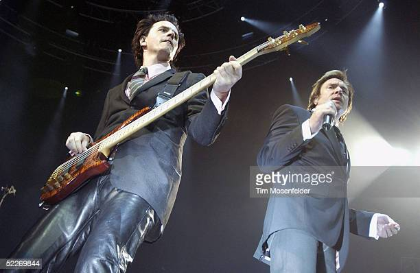 JohnTaylor and Simon Le Bon of Duran Duran perform in support of the band's Astronaut and Singles releases at The HP Pavilion on March 2 2005 in San...