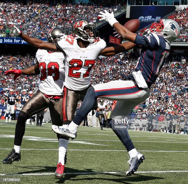 Johnthan Banks of the Tampa Bay Buccaneers is called for pass interference on Aaron Dobson of the New England Patriots during the first half at...
