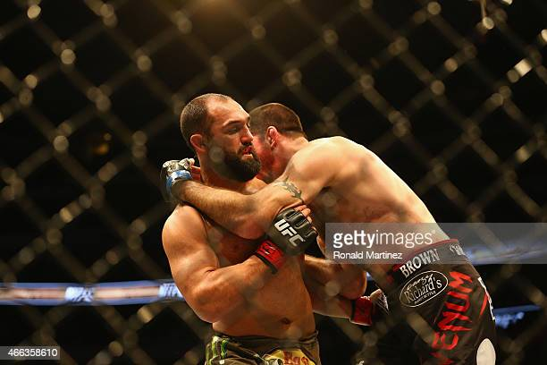 Johny Hendricks fights with Matt Brown in the Welterweight bout during the UFC 185 event at American Airlines Center on March 14 2015 in Dallas Texas