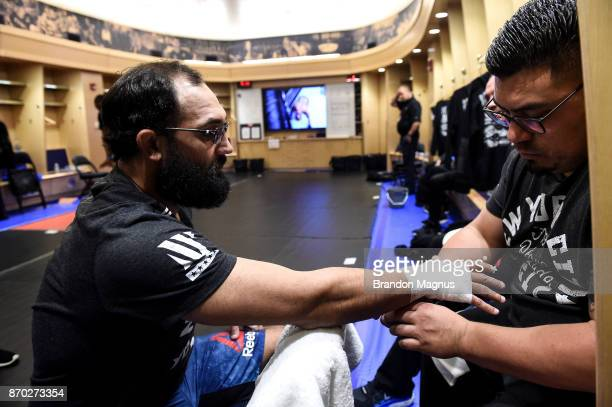 Johny Hendricks gets his hands wrapped backstage during the UFC 217 event inside Madison Square Garden on November 4 2017 in New York City