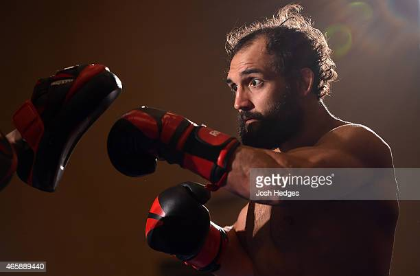 Johny Hendricks holds an open training session for fans and media at the Hilton Anatole Hotel on March 11 2015 in Dallas Texas
