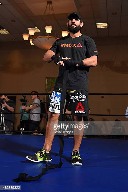 Johny Hendricks holds an open training session for media at the Hilton Anatole Hotel on March 11 2015 in Dallas Texas