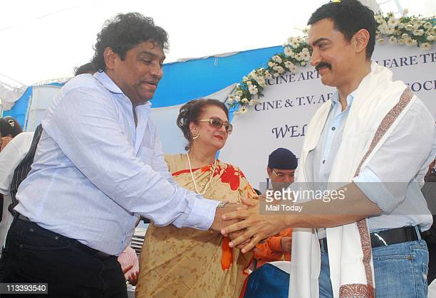 Johny Lever Saira Banu and Aamir Khan at the foundation stone laying ceremony of CINTAA Tower at Andheri in Mumbai