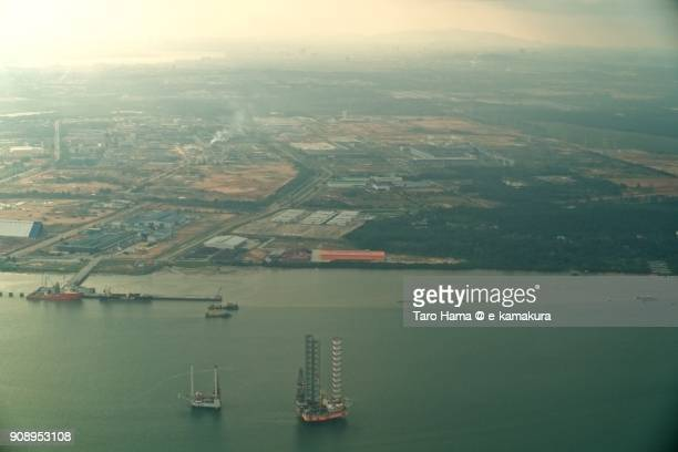 Johor Strait in Malaysia day time aerial view from airplane