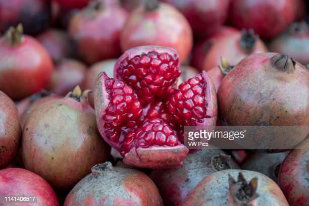 Johri Bazaar; Inside of a pomegranate in Jaipur, India.