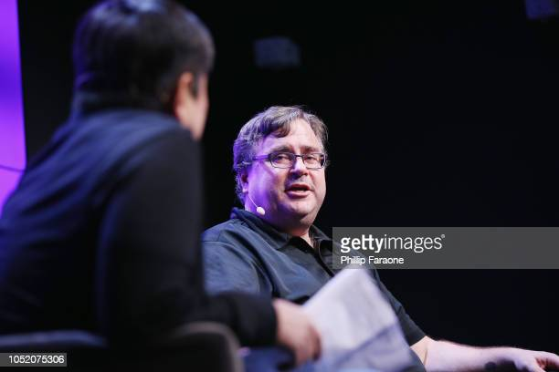 Joi Ito and Reid Hoffman speak onstage at WIRED25 Festival WIRED Celebrates 25th Anniversary – Day 1 on October 13 2018 in San Francisco California