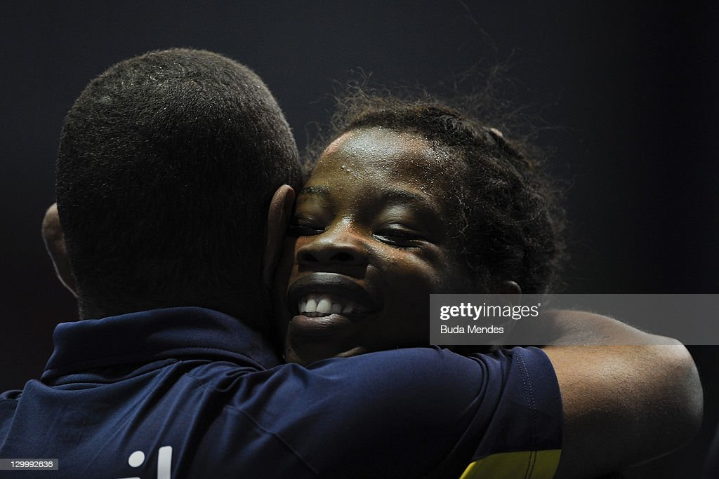 Joice da Silva of Brazil, celebrates a bronze medal, in the Women's Freestyle 55 kg during the Pan American Games Guadalajara 2011 at CODE Dome on October 22, 2011 in Guadalajara, Mexico.