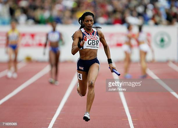 Joice Maduaka of Great Britain competes during the Women's 4 x 100 Metres Relay Semifinal on day six of the 19th European Athletics Championships at...