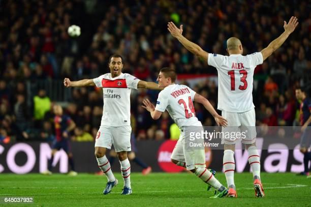 Joie ALEX / Lucas MOURA / Marco VERRATTI Barcelone / Paris Saint Germain 1/4Finale retour Champions League Photo Dave Winter / Icon Sport