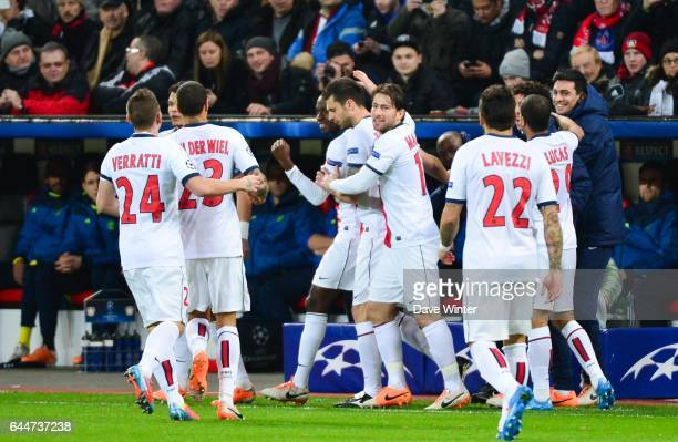 Joie Blaise MATUIDI Bayer Leverkusen / Paris Saint Germain 1/8emeFinale Aller Ligue des Champions Photo Dave Winter / Icon Sport