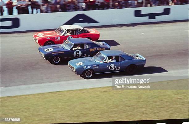 Joie Chitwood Buzz Barton Richard Hoffman Mark Donohue Bob Johnson Craig Fisher and Bill Boye/ Billy Yuma in their Chevrolet Camaro's