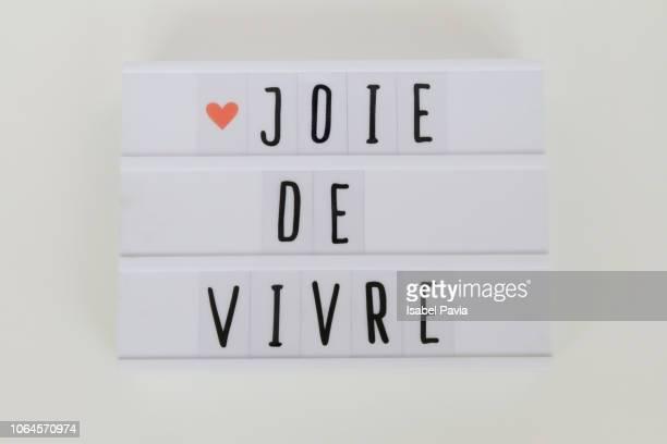 'Joie de Vivre' message in light box