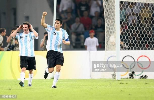 Joie Lionel MESSI / Juan Martin RIQUELME Bresil / Argentine 1/2 Finale Jeux Olympiques Pekin 2008