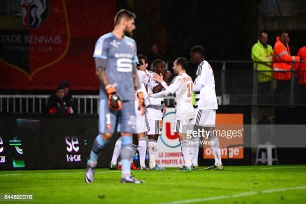 Joie Majeed WARIS / Deception Benoit COSTIL Rennes / Lorient 20eme journee de Ligue 1 Photo Dave Winter / Icon Sport