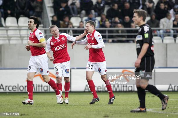 Joie Reims Cedric FAURE / Olivier GUEGAN / Clement TAINMONT Reims / Amiens 25e journee National Stade Auguste Delaune
