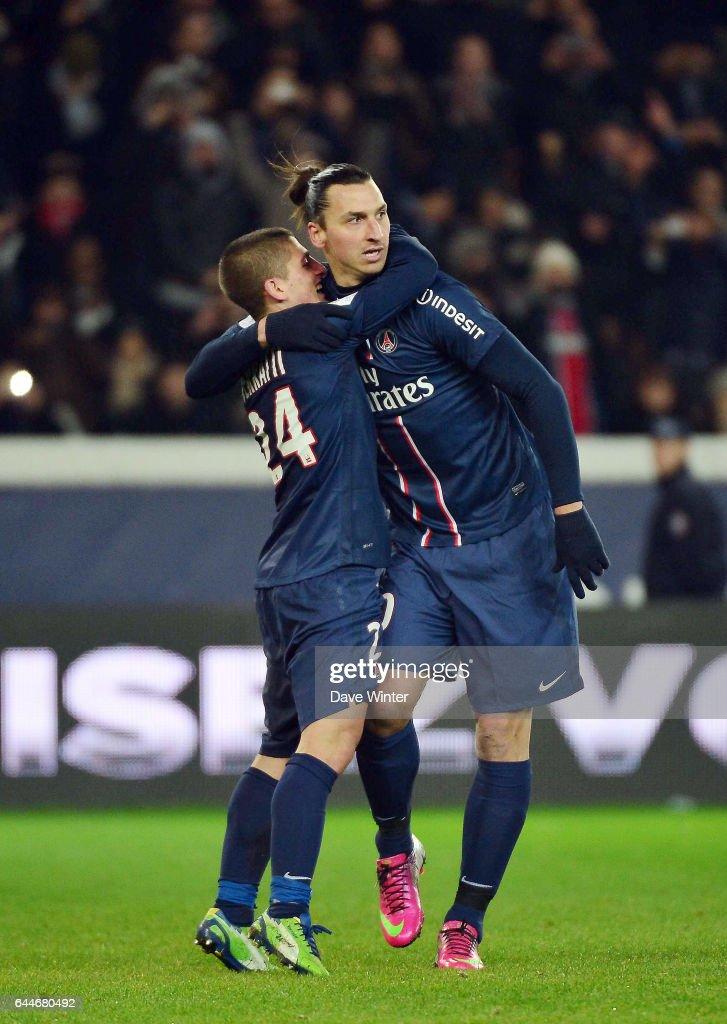 Joie Zlatan IBRAHIMOVIC / Marco VERRATTI - - Paris Saint Germain / Bastia -  24e journee