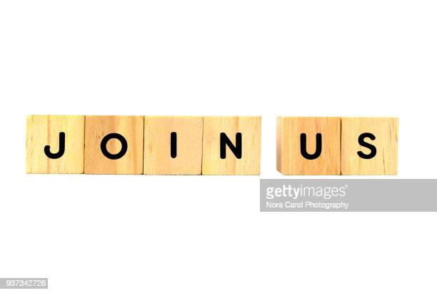 Join Us Text on Wooden Blocks on White Background