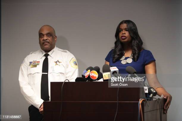 Joined by Chicago Police Superintendent Eddie Johnson Cook County State's Attorney Kim Foxx announces that charges have been filed against singer R...