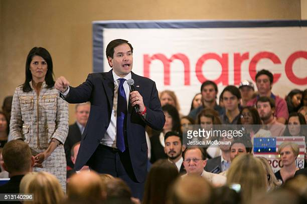 Joined on the stage with South Carolina governor Nikki Haley Republican presidential candidate Senator Marco Rubio addresses supporters during a...