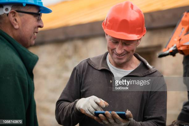 joiners taking a break - building contractor stock pictures, royalty-free photos & images