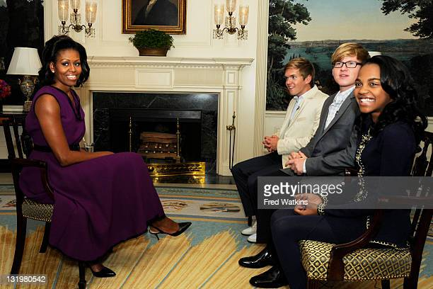 Joining Forces with First Lady Michelle Obama - First Lady Michelle Obama meets with Disney Channel stars China Anne McClain , Doug Brochu and Chris...