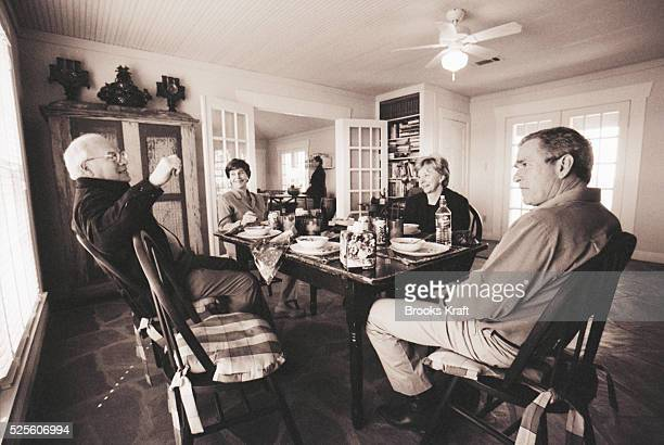 Joining George W Bush and his wife Laura at their home in Crawford Texas are Dick and Lynne Cheney Bush and running mate Cheney won the 2000...