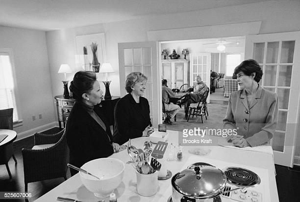 Joining Laura Bush at her home in Crawford Texas are Lynne Cheney and Alma Powell Their husbands served together after George W Bush and running mate...