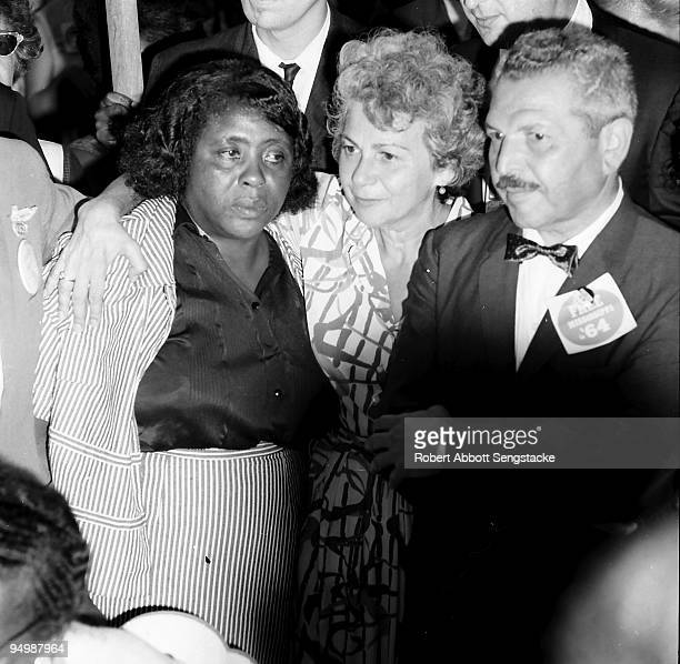Joining the protest outside of Convention Hall over seating of Mississippi delegates are left to right Mrs Fannie Lou Hamer of Mississippi and the...
