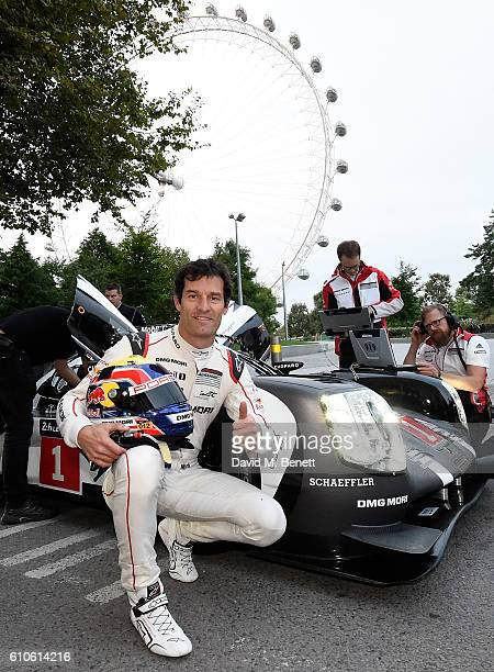 Joint 2015 FIA World Endurance Champion Mark Webber poses as Le Mans comes to London 919 Hybrid Mark Webber and new Panamera EHybrid brings Porsche...