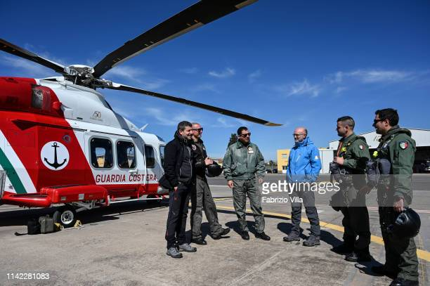 Joint activity between INGV and Coast Guard to monitor the Etna volcano during a helicopter overflight on May 8 2019 in Catania Italy On board there...