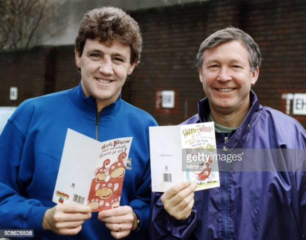 Joint birthday celebration for Manchester United manager Alex Ferguson and his defender Steve Bruce. Here they are pictured at old Trafford showing...