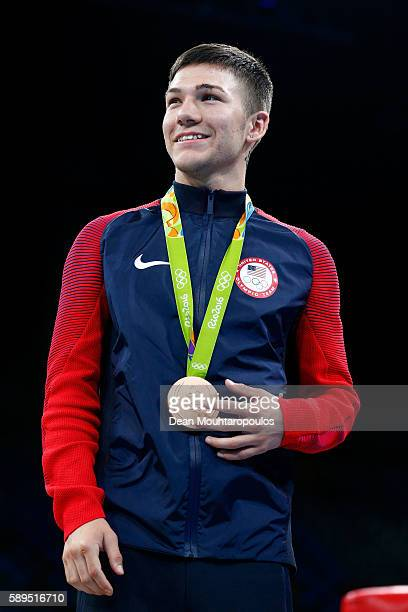 Joint bronze medalist Nico Miguel Hernandez of the United States poses on the podium during the medal ceremony for the Men's Boxing Light Fly Final...
