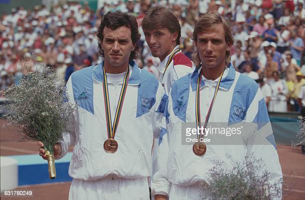 Joint bronze medalists in the tennis Men's Doubles Javier Frana and Christian Miniussi of Argentina at the Olympic Games in Barcelona Spain 7th...