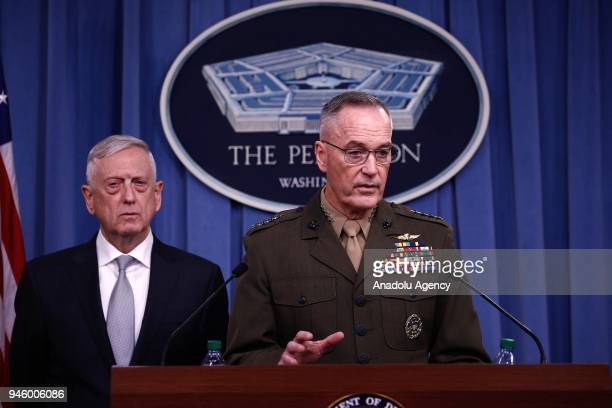 S Joint Chiefs of Staff Chairman Gen Joseph F Dunford briefs members of the media on Syria at the Pentagon in Washington United States on April 13...