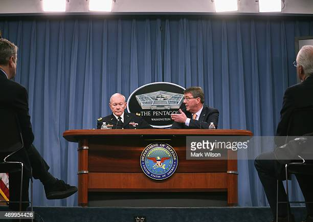 Joint Chiefs of Staff Martin Dempsey US Secretary of Defense Ash Carter and speak to the media during a briefing at the Pentagon April 16 2015 in...