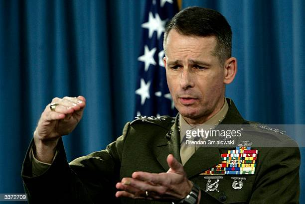 S Joint Chiefs of Staff ViceChairman General Peter Pace gestures during a press briefing at the Pentagon April 15 2004 in Washington DC Rumsfeld...