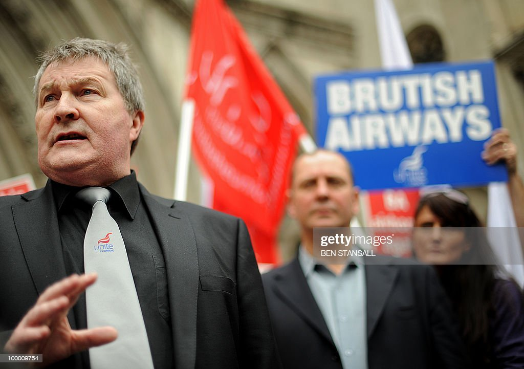 Joint general secretary of the Unite the union, Derek Simpson (L) addresses the media outside the High Court in London on May 20, 2010. British Airways cabin crew could go on strike from Monday after their union won an appeal against a court injunction which had prevented a planned stoppage from going ahead. 'There will be no industrial action this week,' the Unite union's joint general secretary Derek Simpson said as he welcomed the High Court's judgment on Thursday.