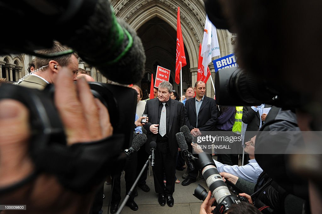 Joint general secretary of the Unite the union, Derek Simpson (C) addresses the media outside the High Court in London on May 20, 2010. British Airways cabin crew could go on strike from Monday after their union won an appeal against a court injunction which had prevented a planned stoppage from going ahead. 'There will be no industrial action this week,' the Unite union's joint general secretary Derek Simpson said as he welcomed the High Court's judgment on Thursday.