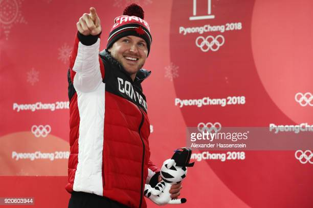 Joint gold medalist Justin Kripps of Canada celebrates during the victory ceremony after the Men's 2Man Bobsleigh on day 10 of the PyeongChang 2018...
