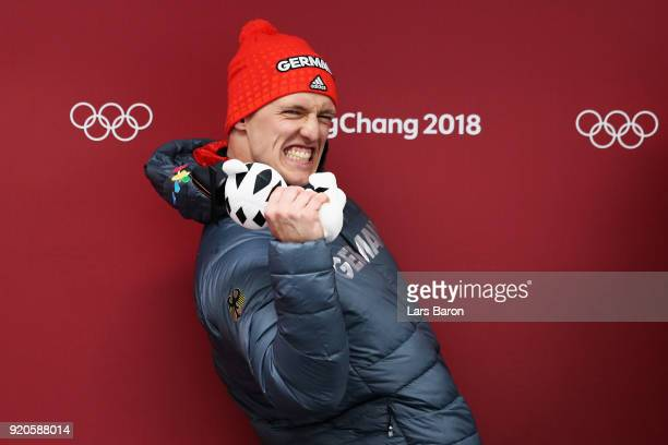 Joint gold medalist Thorsten Margis of Germany celebrates during the victory ceremony after the Men's 2Man Bobsleigh on day 10 of the PyeongChang...