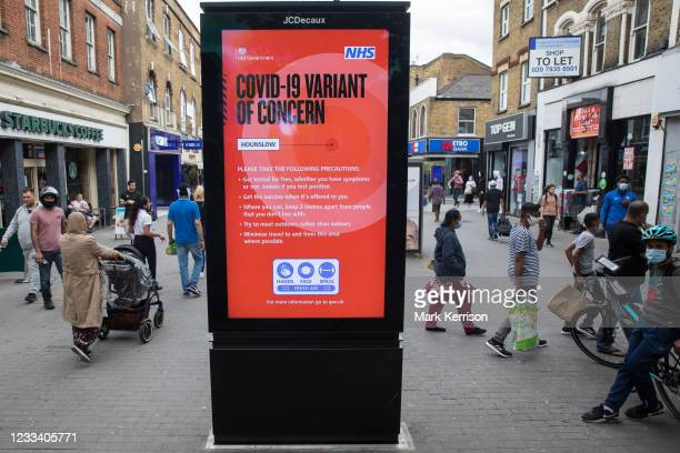 Joint Government and NHS public information display indicates that a Covid-19 Variant of Concern has been identified locally and provides guidance...