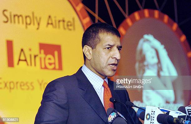 Joint Managing Director of India's largest private telecoms firm Bharti Televentures Rajan Bharti Mittal addresses a press conference in New Delhi 15...