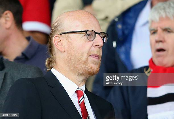 Joint Manchester United Chairman Avram Glazer looks on prior to the Barclays Premier League match between Manchester United and Swansea City at Old...