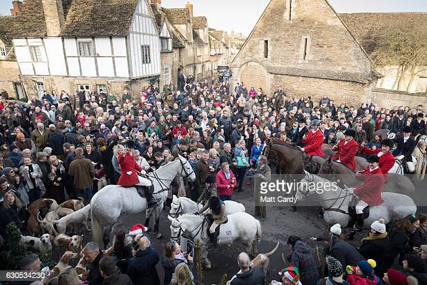 Joint Master and Huntsman Stuart Radbourn raises a toast as riders and hunt supporters gather for the traditional Boxing Day meet for the Avon Vale...