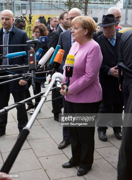 Joint meeting of the Presidium of the CDU and CSU in Munich Federal Chancellor Angela Merkel during a press release before the start of the meeting