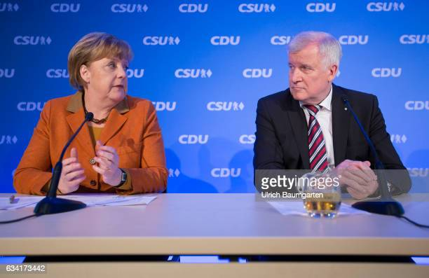 Joint meeting of the Presidium of the CDU and CSU in Munich Horst Seehofer Bavarian Minister President and Federal Chancellor Angela Merkel during...