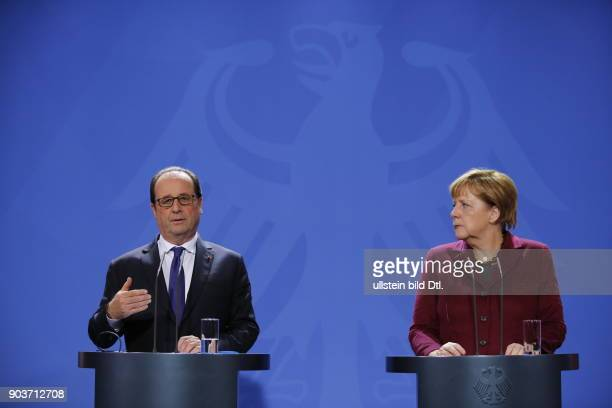 Joint nightly press conference of German Chancellor Angela Merkel and French President Francois Hollande after the talks with the heads of state and...