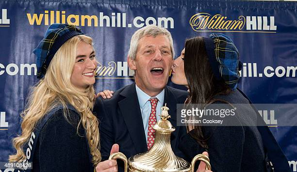 Joint owner Nicholas Wrigley with the Ayr Gold Cup after his horse Don't Touch won the William Hill Ayr Gold Cup on September 19 2015 in Ayr Scotland