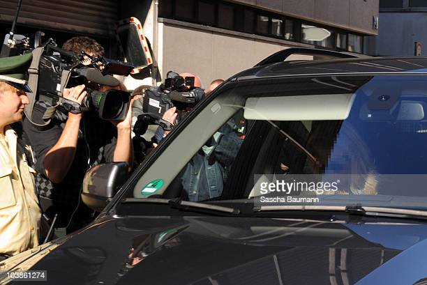 Joint plantiff and ex-girlfriend leaves the district court on day one of the trial against the tv host and weather expert Joerg Kachelmann on...